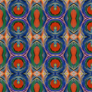 Circles Abstract Acrylic Painting in Blue Orange and Green