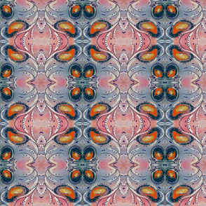 Abstract Peacock Painted Pattern in Muted Tones