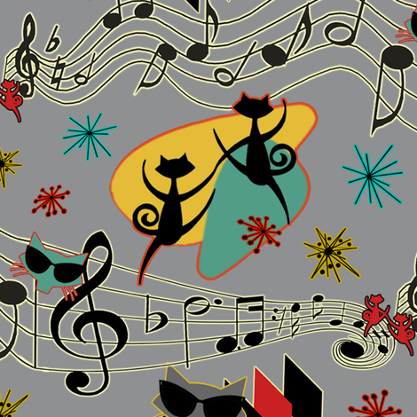 Rockabilly Cool Cats fabric by barbaramarrs on Spoonflower - custom fabric