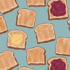 Toast on blue