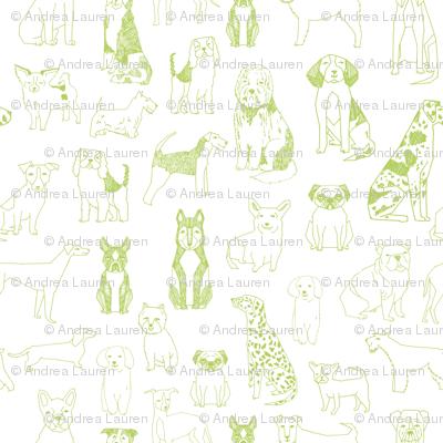 dogs fabric - green glow, lime green, dog fabric, dog breeds fabric, dog  illustration fabric