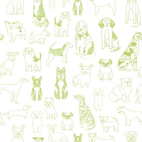 dogs fabric - green glow, lime green, dog fabric, dog breeds fabric, dog  illustration fabric fabric by andrea_lauren on Spoonflower - custom fabric
