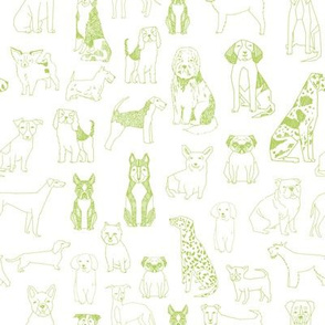 dogs fabric - green glow, lime green, dog fabric, dog breeds fabric, dog  illustration fabric