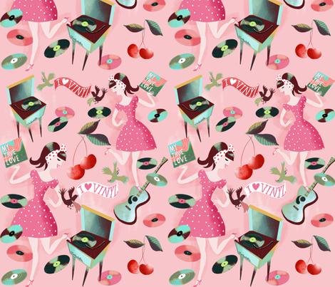 vintage vinyl rockabilly love fabric by miraparadies on Spoonflower - custom fabric