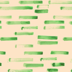 Green on coral • watercolor brush strokes