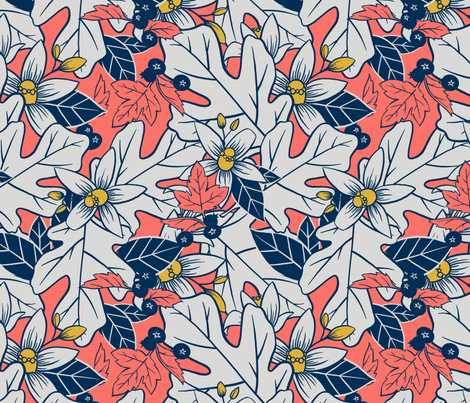 Orange Blossom and Coral fabric by washburnart on Spoonflower - custom fabric