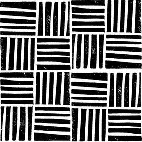 thatch fabric - hand printed fabric, linocut home decor fabric, stripes fabric, grid fabric, - black and white