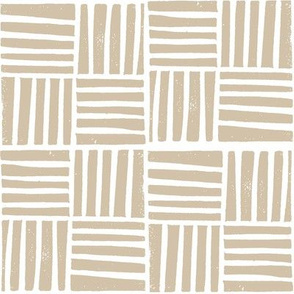 thatch fabric - hand printed fabric, linocut home decor fabric, stripes fabric, grid fabric, - latte