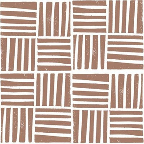 thatch fabric - hand printed fabric, linocut home decor fabric, stripes fabric, grid fabric, - coffee