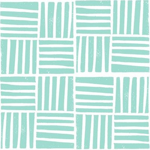 thatch fabric - hand printed fabric, linocut home decor fabric, stripes fabric, grid fabric, - jade