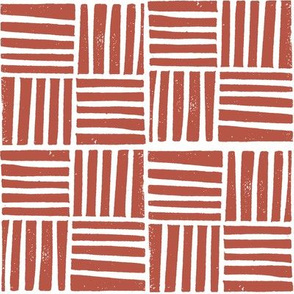 thatch fabric - hand printed fabric, linocut home decor fabric, stripes fabric, grid fabric, - red oxide