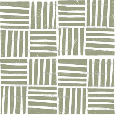 thatch fabric - hand printed fabric, linocut home decor fabric, stripes fabric, grid fabric, - artichoke