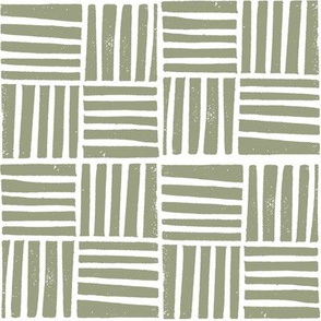 thatch fabric - hand printed fabric, linocut home decor fabric, stripes fabric, grid fabric, - artichoke