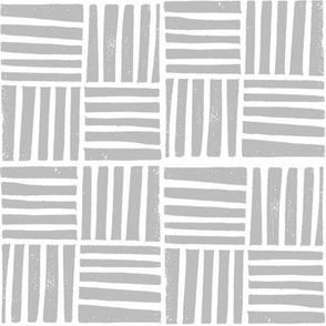 thatch fabric - hand printed fabric, linocut home decor fabric, stripes fabric, grid fabric, - grey