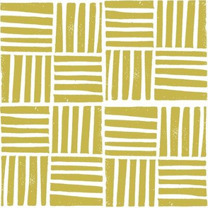 thatch fabric - hand printed fabric, linocut home decor fabric, stripes fabric, grid fabric, - mustard