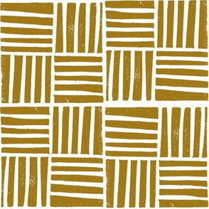 thatch fabric - hand printed fabric, linocut home decor fabric, stripes fabric, grid fabric, - brown