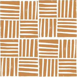 thatch fabric - hand printed fabric, linocut home decor fabric, stripes fabric, grid fabric, -ochre