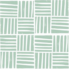 thatch fabric - hand printed fabric, linocut home decor fabric, stripes fabric, grid fabric, - green