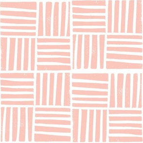 thatch fabric - hand printed fabric, linocut home decor fabric, stripes fabric, grid fabric, - pink
