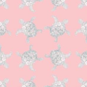 pastel pink loggerhead sea turtle relief