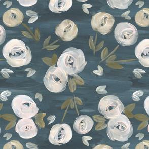 moody blush navy modern floral - Medium
