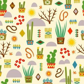 Desert cacti flowers and snakes