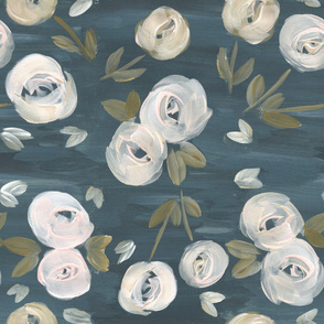 moody blush navy modern floral large scale