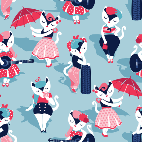 Rockabilly cats // small scale // pastel blue background white pin-up cats in fancy red pink and navy blue outfits fabric by selmacardoso on Spoonflower - custom fabric