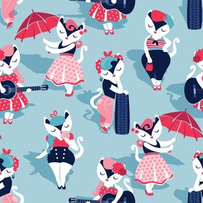Rockabilly cats // small scale // pastel blue background white pin-up cats in fancy red pink and navy blue outfits