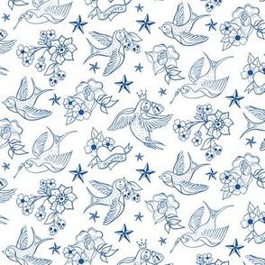 Rockabilly Birds Outlines