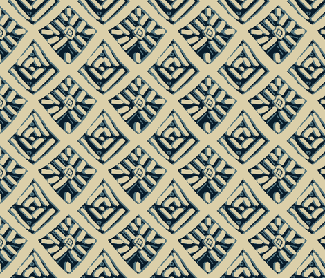 Batiky lt tan navy small fabric by lorloves_design on Spoonflower - custom fabric
