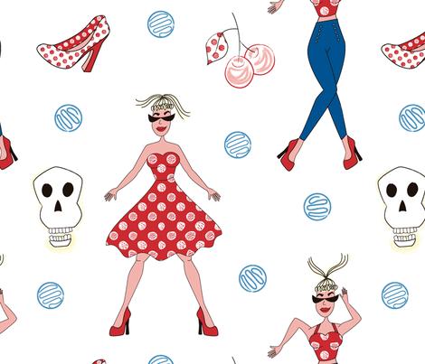 Rockabilly Dance Like Crazy fabric by vivicheruti on Spoonflower - custom fabric