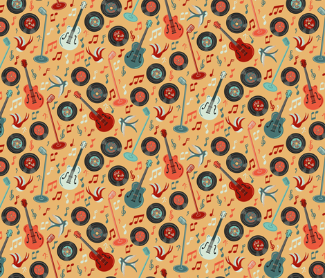 Rock with me 1953 fabric by new_branch_studio on Spoonflower - custom fabric