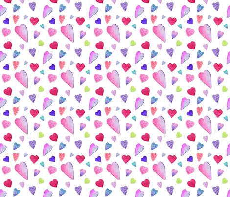 Fancy Watercolor Hearts on white fabric by dreamoutloudart on Spoonflower - custom fabric