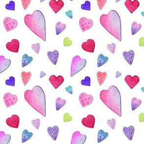 Fancy Watercolor Hearts on white