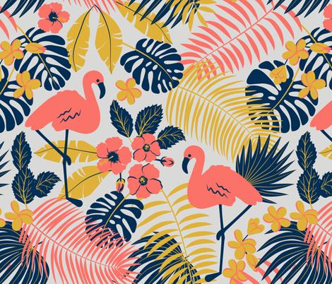 tropic flamingo fabric by svetlana_prikhnenko on Spoonflower - custom fabric