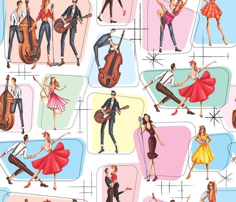 Rockabilly Party fabric by dorinus_illustrations on Spoonflower - custom fabric