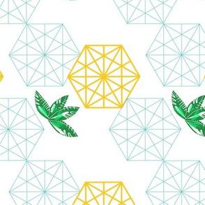 hexagon leaves golden big