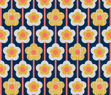 PoppyStripe_LimitedPalette_Coral fabric by beverley_glanville on Spoonflower - custom fabric