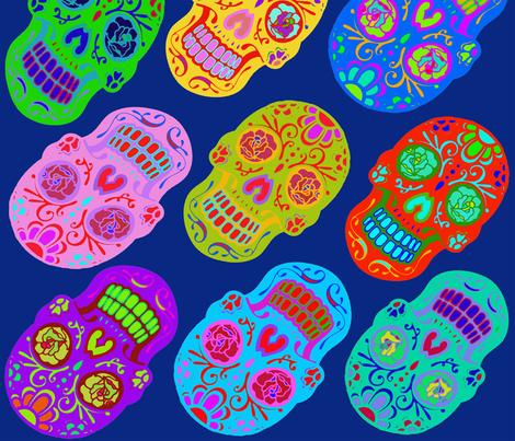 Rockabilly Skull Tattoos fabric by vagabond_folk_art on Spoonflower - custom fabric