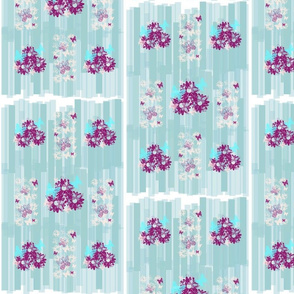 Bouquets and Butterflies on Seafoam