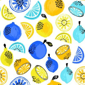 summer citrus fabric - oranges, lemons, limes, grapefruit, pomelos, citrus fruit fabric - yellow and blue