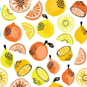 summer citrus fabric - oranges, lemons, limes, grapefruit, pomelos, citrus fruit fabric - yellow and oranges