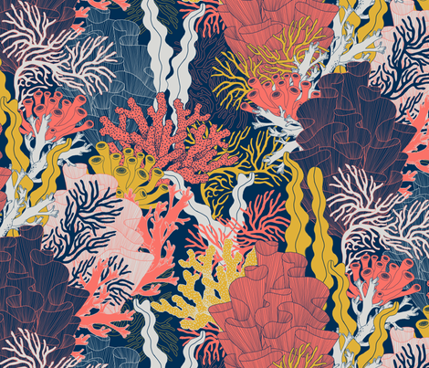 Coral fabric by j9design on Spoonflower - custom fabric