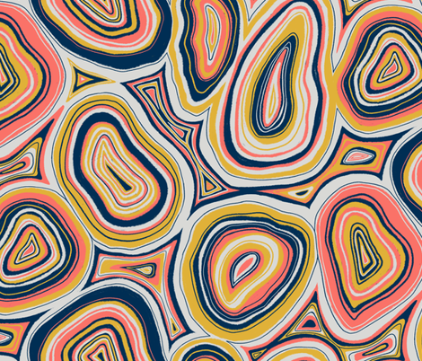 agate slices in living coral fabric by new_branch_studio on Spoonflower - custom fabric