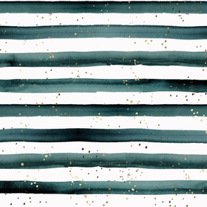 stripe teal gold dots-L