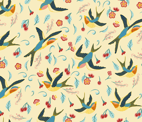 swallows and cherry tree  fabric by stargazingseamstress on Spoonflower - custom fabric