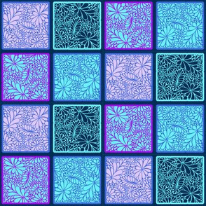 Drip Doodle Blue Squares Small