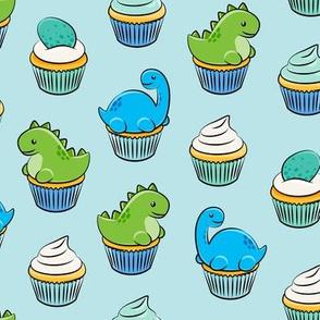 dinosaur cupcakes - dino birthday - trex - baby blue LAD19