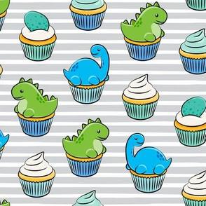 dinosaur cupcakes - dino birthday - trex - grey stripes LAD19